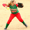 Photo by Chris Martin<br /> Anderson's Kaylie Quallys makes a play at 3rd base Monday against the Arabians