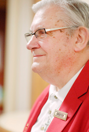 John P. Cleary | The Herald Bulletin<br /> Red coat volunteer Brian Morson has volunteered as a greeter at St. Vincent Regional Hospital in Anderson for 12 years.