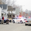 Don Knight | The Herald Bulletin<br /> Sixth Street is closed as Police surround 329 W. Sixth St. after a man fired at officers before retreating inside. Police negotiators used a loud speaker to communicate with the man who later surrendered after an almost two hour stand off.