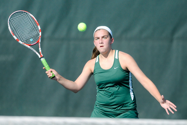 Don Knight | The Herald Bulletin<br /> Pendleton Heights' Sam Hammel returns a volley in the number three singles match as the Arabians hosted Shelbyville on Friday. To view or buy this photo and other Herald Bulletin photos, visit heraldbulletin.smugmug.com.