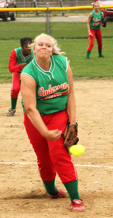 Photo by Chris Martin<br /> Anderson's Haley Helton pitches against Pendleton on Monday