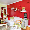 Bold color choices in the living room are coupled with eye-catching<br /> accents.