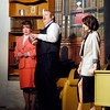John P. Cleary | The Herald Bulletin<br /> New secretary Judy (Gretchen Baldwin) meets the boss Franklin Hart (Daniel Draves) as supervisor Violet (Connie Rich) looks on.
