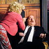 "John P. Cleary | The Herald Bulletin<br /> The chauvinist boss Franklin Hart (Daniel Draves) gets threatened  by secretary Doralee Rhodes (Holly Reagin) after he tries to make some moves on her in his office in  Anderson's Mainstage Theatre production of ""9 to 5: The Musical.""<br /> <br /> <br /> <br /> <br /> Mainstage production of ""9 to 5: The Musical."""