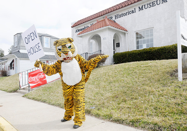 Don Knight | The Herald Bulletin<br /> Joyce Grose donned a tiger mascot costume to invite passers by on Harrison Street to the opening of the Alexandria-Monroe Historical Museum on Saturday. The museum was closed over the winter for cleaning and work on new exhibits.