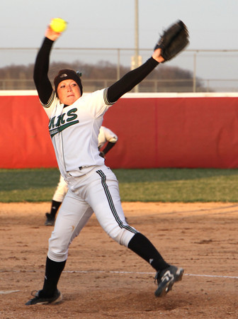 Photo by Chris Martin<br /> Pendleton's Bailey Benefiel pitches against Madison Grant in Wednesday opening round of the County Tourney