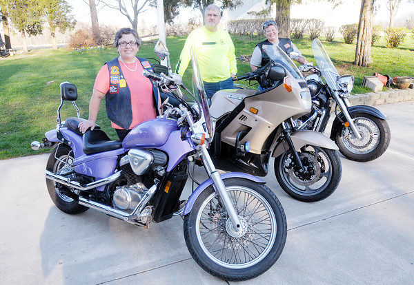 Don Knight | The Herald Bulletin<br /> From left, Irene and Jorge Silva and Lesa Grose are members of the new chapter of the Chrisitan Motorcyclists Association that covers East Central Indiana. To view or buy this photo and other Herald Bulletin photos, visit<br /> heraldbulletin.smugmug.com.