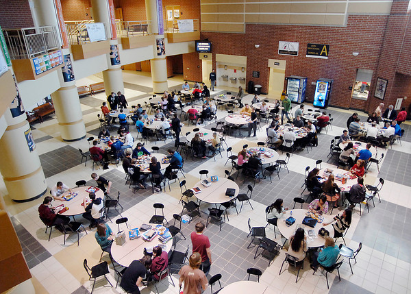John P. Cleary | The Herald Bulletin<br /> Lapel High School students enjoy their lunch period gathering in the commons area of the building last week.