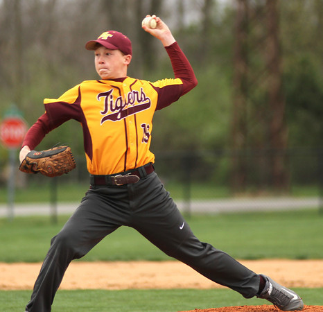 Photo by Chris Martin<br /> Alexandria's Braxton Moore comes in as a relief pitcher against Mississinewa Tuesday