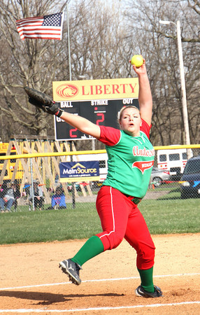 Photo by Chris Martin<br /> Anderson's Sydney Schmitt pitches against Elwood in the County Tournament