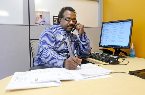 Don Knight   The Herald Bulletin<br /> Gary Boards works at the H&R Block office in Anderson on Thursday. H&R Block is planning to be open the 24 hours prior to the April 15 midnight filing deadline.