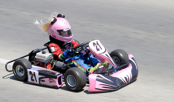 Don Knight | The Herald Bulletin<br /> Kylan McFall, 6, competes in the Kid Karts division during the Sertoma Club 20th Annual Mayor's Cup Grand Prix on Saturday. To view or buy this photo and other Herald Bulletin photos, visit heraldbulletin.smugmug.com.