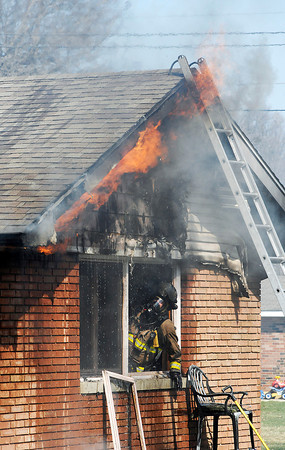 John P. Cleary   The Herald Bulletin<br /> House fire in the 2600 block of Highland Rd. Tuesday morning.