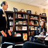 John P. Cleary | The Herald Bulletin<br /> Rich Hull, Liberty Christian Elementary Principal, talks with  Dr. Lynn Staley, school superintendent in her offlce.
