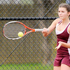 Don Knight   The Herald Bulletin<br /> Alexandria's Colleen Matthew returns the ball to Shenandoah's Alex Canaday during the No. 2 singles match at Alexandria on Tuesday. Matthew won 6-2, 6-0.