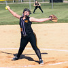 Chris Martin for The Herald Bulletin.  Kait Davis pitches for Alexandria against Madison Grant Thursday night in the County Tournament.
