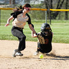 Chris Martin for The Herald Bulletin.  Jenna Ogborn successfully  steals 2nd base for Alexandria Thursday against Madison Grant in the County Tourney.