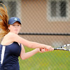 Don Knight | The Herald Bulletin<br /> Shenandoah's Kassidy Hook follows through on her backhand as she faced Blaine Kelly at Alexandria on Tuesday.
