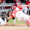 Don Knight | The Herald Bulletin<br /> Frankton's Connor Love tags Lapel's Satchell Wilson out during an attempt to steal home at Frankton on Friday.