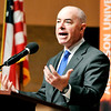 John P. Cleary | The Herald Bulletin<br /> Deputy Secretary of Homeland Security Alejandro Mayorkas visited Anderson University Wednesday giving a talk and answering question to about 120 people.