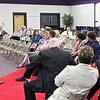 Mark Maynard   For The Herald Bulletin<br /> Assistant Superintendent of Secondary Academics and Technology for Anderson Community Schools fields a question from local resident Amber Dietz during the final community meeting on the system's FIRST plan.