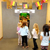 Don Knight | The Herald Bulletin<br /> Frankton Elementary students enter Gravensteen Castle, part of the Belgium display during the school's World's Fair on Thursday.