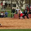 Mark Maynard   for The Herald Bulletin<br /> Alexandria fielders react as a Frankton batter gets a hit.