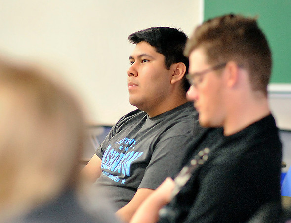 John P. Cleary |  The Herald Bulletin<br /> Undocumented immigrant Jose Espinoza in his sociology class at Anderson University.