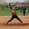 Mark Maynard   for The Herald Bulletin<br /> Tiger pitcher K. Davis winds-up to deliver a pitch during the Alexandria Girls' Softball team's game against the Frankton Eagles to open the County Tourney.