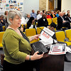 John P. Cleary |  The Herald Bulletin<br /> Jane Herndon, of Ice Miller, gives the school board information on the legal procedures on having a bond referendum at Tuesday's ACS board meeting.