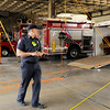 Don Knight | The Herald Bulletin<br /> Captain Matt Cole talks about the equipment used by Anderson Fire Department's new technical rescue team during a demonstration on Wednesday.