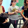 John P. Cleary |  The Herald Bulletin<br /> Fourth-graders from Summitville Elementary School tour Park Elementary School as part of a proposed realignment of schools. Here Dani Meyer, 10, takes notes while observing the different classrooms during their tour of the school.