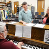 "Don Knight | The Herald Bulletin<br /> Daniel Erwin and Erynn Hensley rehearse ""Goodbye Until Tomorrow"" accompanied by Stephen Fleck on piano during a rehearsal for ""The Last Five Years"" at Alexandria-Monroe High School on Thursday."