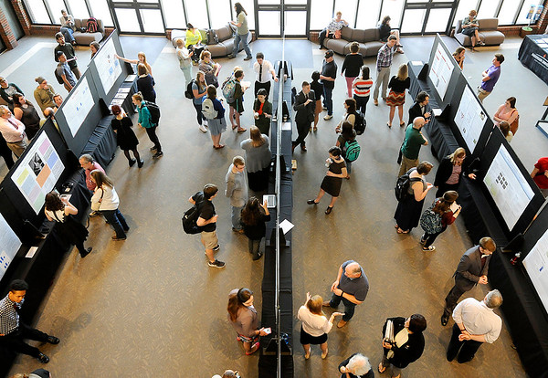 Don Knight | The Herald Bulletin<br /> More than 42 Anderson University undergrads presented capstone projects or independent study reports they've spent up to a year working on at the eighth annual AU Scholars Day on Tuesday.