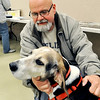 John P. Cleary |  The Herald Bulletin<br /> Tony Barkdull adopted Boomer after the death of Pete Domery and brought him to the memorial for his old master to see familiar friends. Domery was a Mounds volunteer and park enthusiast.