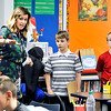 John P. Cleary |  The Herald Bulletin<br /> Park Elementary School Principal Emily K. Tracy explains to fourth-graders from Summitville Elementary School, who were touring Park Elementary School<br /> earlier this week, some of the different items they have in their fifth and sixth grade classrooms.