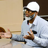 Don Knight | The Herald Bulletin<br /> Roger Wilkerson talks about how Phillip Washington helped his son get into college during a town hall meeting in support of bringing back Phillip Washington to coach the Indians during a meeting at the UAW on Tuesday.