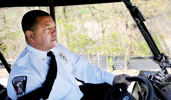 Don Knight | The Herald Bulletin<br /> APD Assistant Chief Warren Warren patrols the White River Trail on Friday. APD will increase their presence on the trails as part of Chief Tony Watters' goal of increasing patrolling.