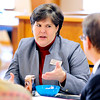John P. Cleary |  The Herald Bulletin<br /> Dr. Melissa Brisco, Superintendent Alexandria Community Schools, talks with some of the community leaders during a meeting Monday of Alexandria schools and community members to work on a plan for a grant from Lilly Endowment.