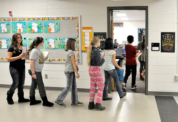 John P. Cleary |  The Herald Bulletin<br /> Fourth-graders from Summitville Elementary School tour Park Elementary School as part of aproposed realignment of schools this past Monday.