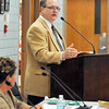 John P. Cleary |  The Herald Bulletin<br /> Anderson Community Schools CFO Kevin Brown addresses the school board meeting where costs for the proposed facilities referendum will be given.