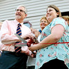 John P. Cleary |  The Herald Bulletin<br /> Stan Horner and Libby Parker pose for photos before having the ribbon cutting for the opening of the new Beauty for Ashes Education Center Wednesday in Alexandria. Horner is chairman of the board and Parker is the executive director of the transitional home.
