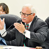 John P. Cleary |  The Herald Bulletin<br /> Superintendent Terry Thompson addresses the Anderson Community Schools board meeting Tuesday where costs for the proposed facilities referendum will be given.