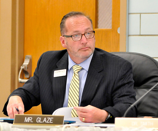John P. Cleary    The Herald Bulletin<br /> Asst. Superintendent Ryan Glaze at the Anderson Community Schools board meeting.