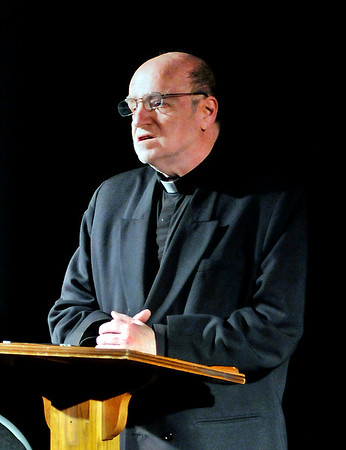 "John P. Cleary |  The Herald Bulletin<br /> Father Tim Farley (Bill Malone) gives his Sunday sermon in the Commons Theatre's production of ""Mass Appeal."""