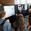 Don Knight | The Herald Bulletin<br /> Anderson University Freshman Business Management major Joe Moran explains his hypothesis during AU's eighth annual Scholars Day on Tuesday. Students from across the university's departments determine a topic to research or a hypothesis to investigate.