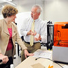 John P. Cleary |  The Herald Bulletin<br /> Rep. Susan Brooks, R-5th District, toured the Purdue Polytechnic Institute  Monday checking out the new education facility and the programs they offer.<br /> Here Jeff Heiking, a mechanical engineering professor with Purdue, shows Brooks their 3D printer lab and some of the applications it can be used for.
