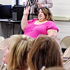 Mark Maynard | For The Herald Bulletin<br /> Local resident Amber Dietz asks a question concerning the proposed facilities improvements during Monday evening's community meeting with members of the ACS administration.