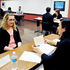 John P. Cleary |  The Herald Bulletin<br /> Students at Hinds Career Center in Elwood participate in a program of going through job interviews with area professionals<br /> to give them the experience of what to expect when looking for a job.
