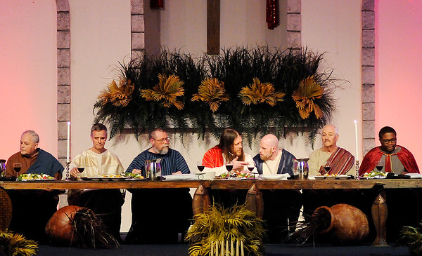 """Don Knight   The Herald Bulletin<br /> Glad Tidings Assembly of God presented their """"The Living Lord's Supper"""" performance over the weekend."""